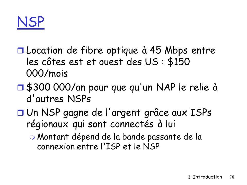 1: Introduction78 NSP r Location de fibre optique à 45 Mbps entre les côtes est et ouest des US : $150 000/mois r $300 000/an pour que qu'un NAP le re
