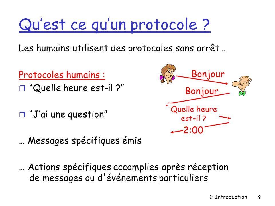 """1: Introduction9 Qu'est ce qu'un protocole ? Les humains utilisent des protocoles sans arrêt… Protocoles humains : r """"Quelle heure est-il ?"""" r """"J'ai u"""