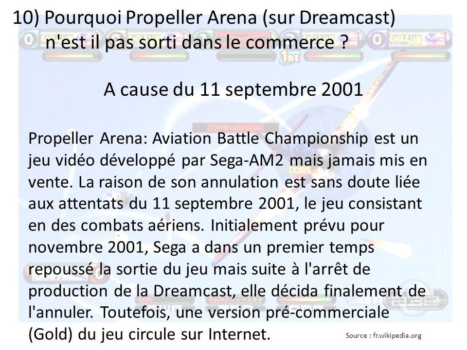 10) Pourquoi Propeller Arena (sur Dreamcast) n'est il pas sorti dans le commerce ? Propeller Arena: Aviation Battle Championship est un jeu vidéo déve