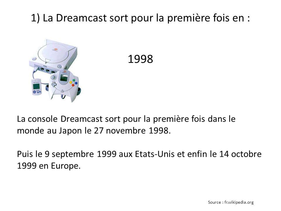 1) La Dreamcast sort pour la première fois en : 1998 La console Dreamcast sort pour la première fois dans le monde au Japon le 27 novembre 1998.