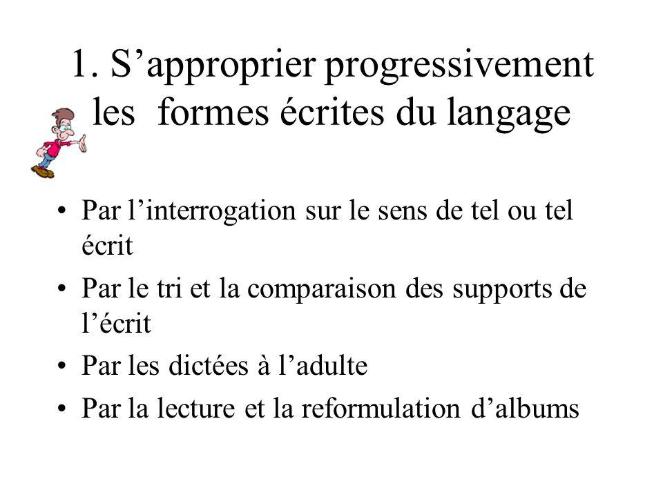 En s'appropriant progressivement les formes écrites du langage En prenant conscience des réalités sonores de la langue En commençant à mettre en rappo