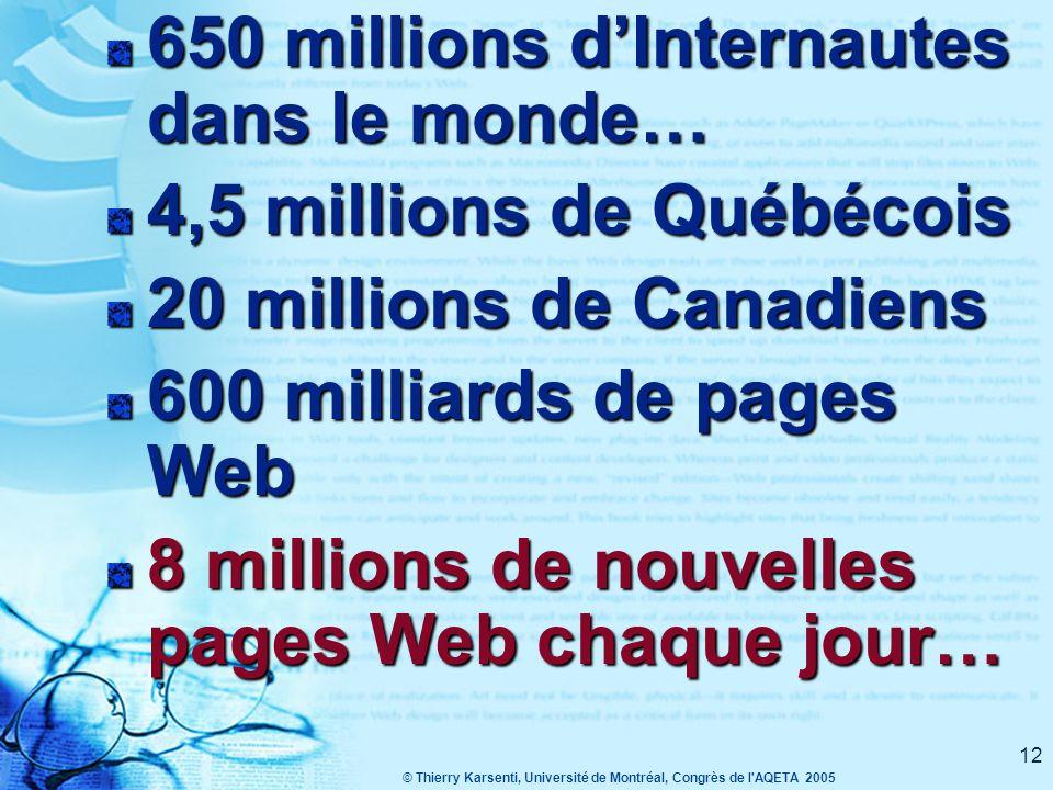 © Thierry Karsenti, Université de Montréal, Congrès de l AQETA 2005 12 650 millions d'Internautes dans le monde… 4,5 millions de Québécois 20 millions de Canadiens 600 milliards de pages Web 8 millions de nouvelles pages Web chaque jour…