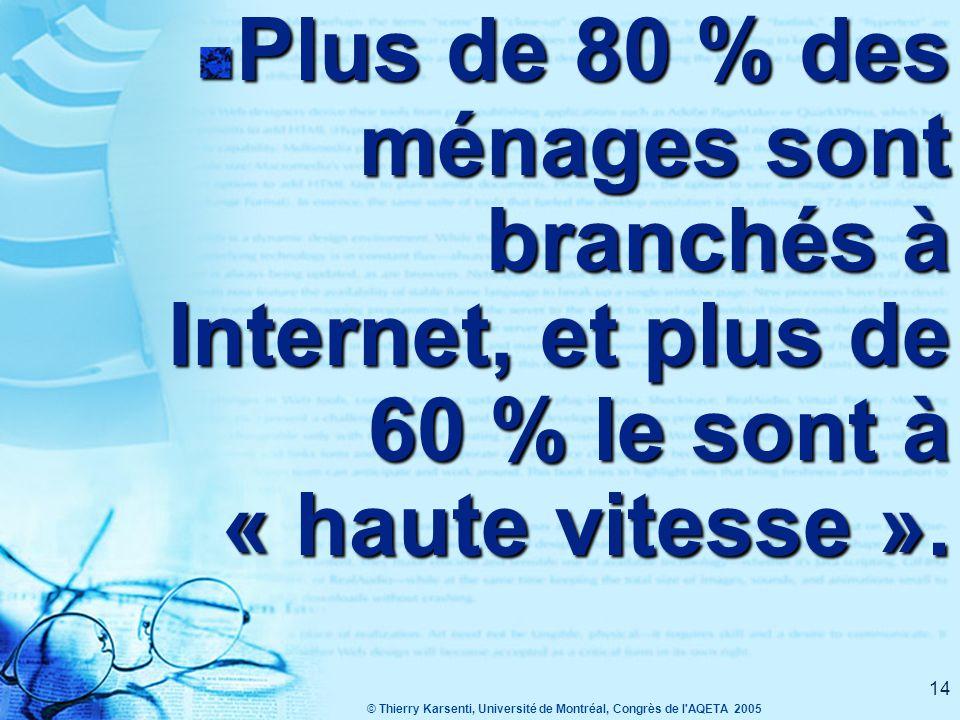 © Thierry Karsenti, Université de Montréal, Congrès de l AQETA 2005 14 Plus de 80 % des ménages sont branchés à Internet, et plus de 60 % le sont à « haute vitesse ».