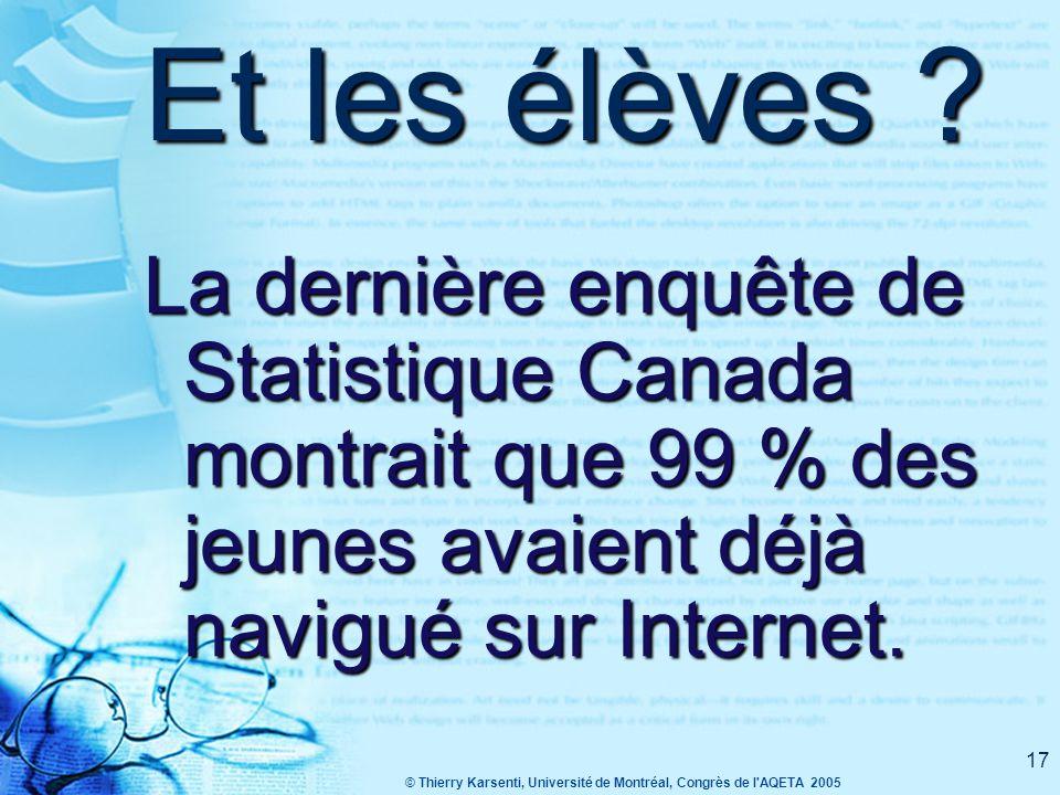 © Thierry Karsenti, Université de Montréal, Congrès de l AQETA 2005 16 Et à l'école .