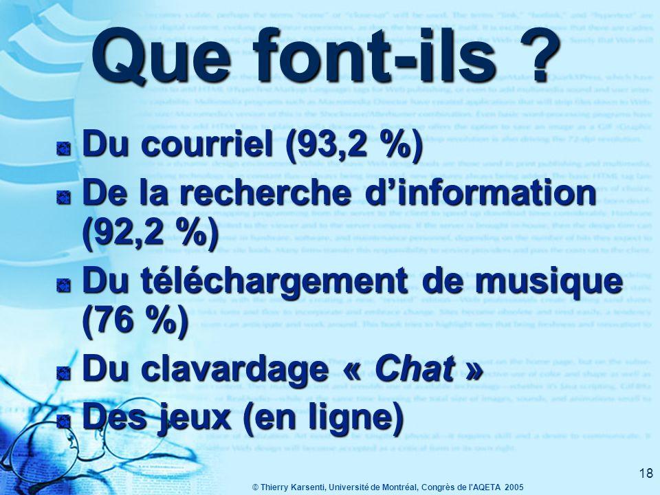 © Thierry Karsenti, Université de Montréal, Congrès de l AQETA 2005 17 Et les élèves .