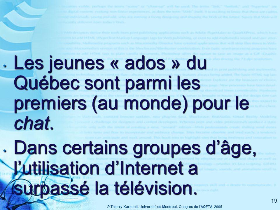© Thierry Karsenti, Université de Montréal, Congrès de l AQETA 2005 19 Les jeunes « ados » du Québec sont parmi les premiers (au monde) pour le chat.