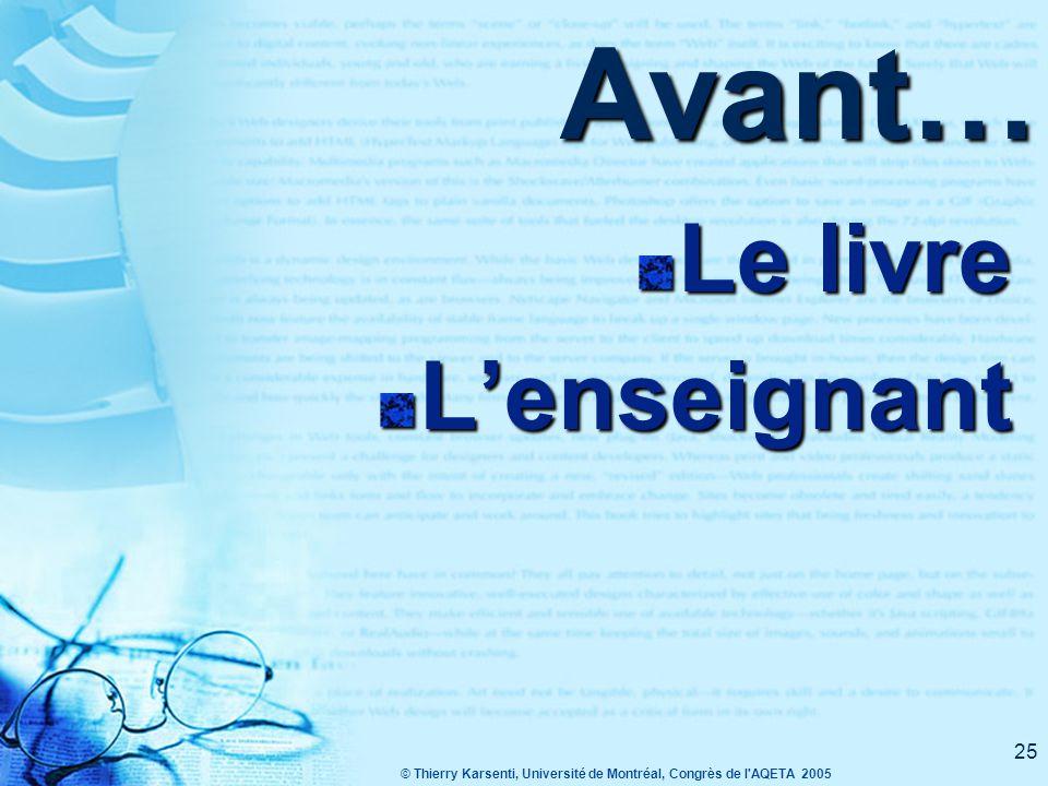 © Thierry Karsenti, Université de Montréal, Congrès de l AQETA 2005 25 Avant… Le livre L'enseignant