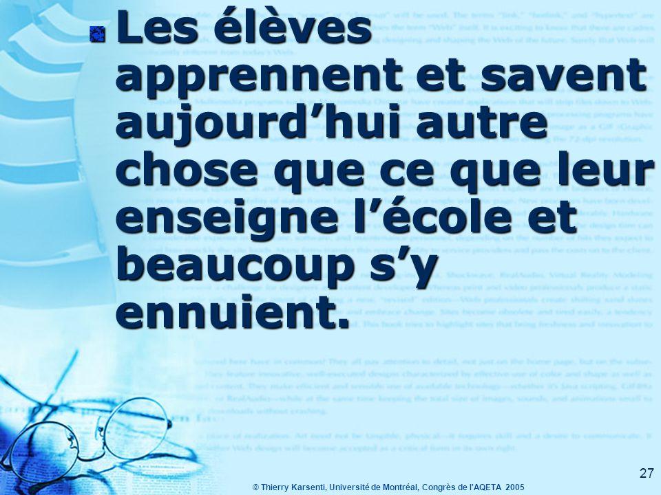 © Thierry Karsenti, Université de Montréal, Congrès de l AQETA 2005 26 Maintenant… Internet