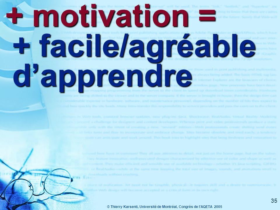 © Thierry Karsenti, Université de Montréal, Congrès de l AQETA 2005 35 + motivation = + facile/agréable d'apprendre