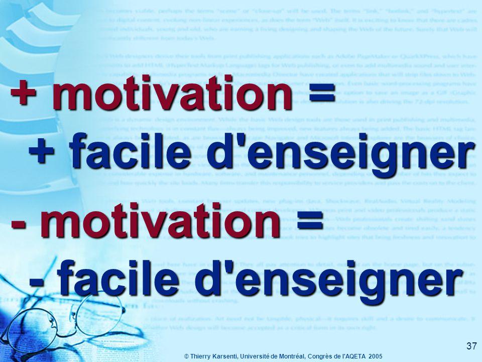 © Thierry Karsenti, Université de Montréal, Congrès de l AQETA 2005 37 + motivation = + facile d enseigner - motivation = - facile d enseigner