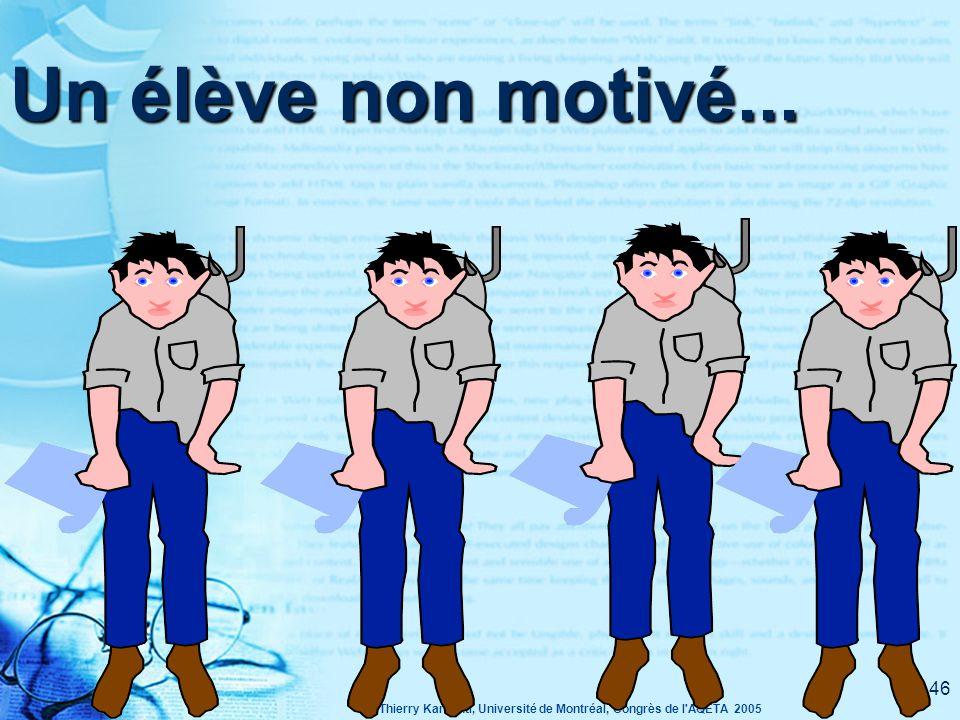 © Thierry Karsenti, Université de Montréal, Congrès de l AQETA 2005 45 Quels sont les indices de non-motivation?