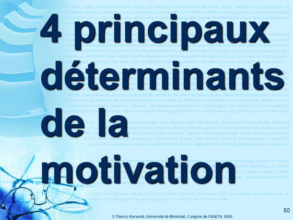 © Thierry Karsenti, Université de Montréal, Congrès de l AQETA 2005 50 4 principaux déterminants de la motivation