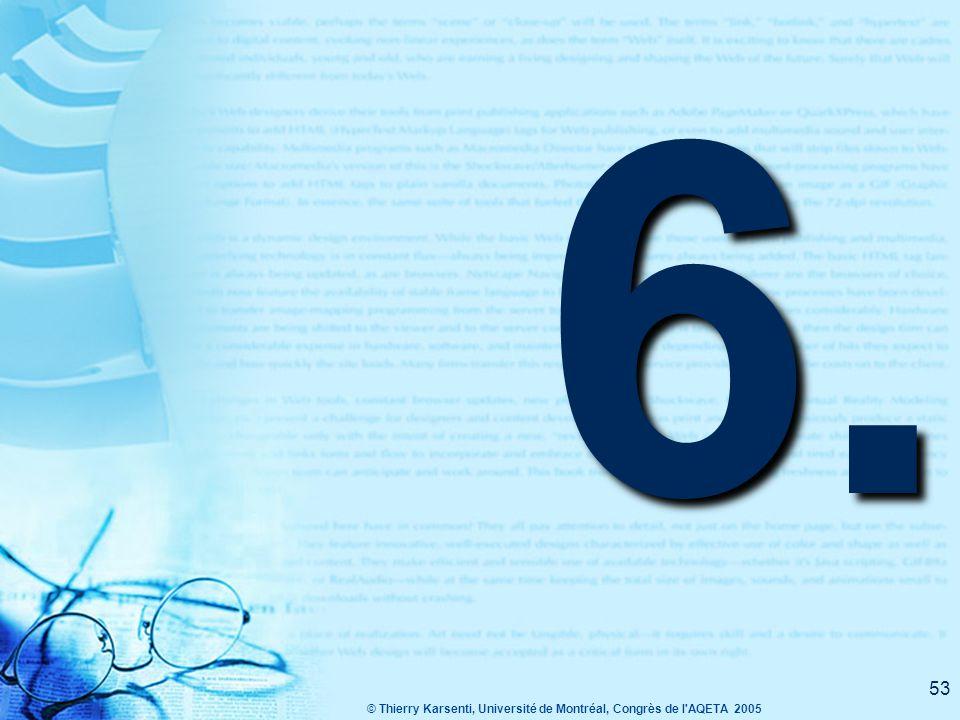 © Thierry Karsenti, Université de Montréal, Congrès de l AQETA 2005 52 Quelles sont les activités que vous aimez réaliser ?