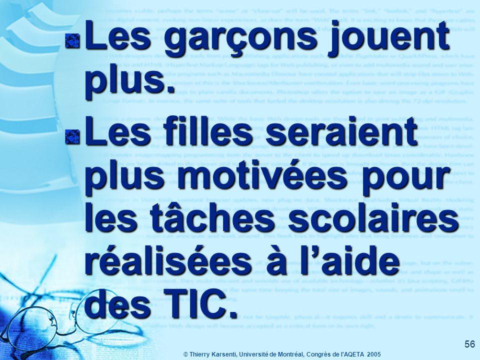 © Thierry Karsenti, Université de Montréal, Congrès de l AQETA 2005 55 Les recherches montrent que les TIC favorisent, dans certains contextes, la motivation des garçons et des filles*.