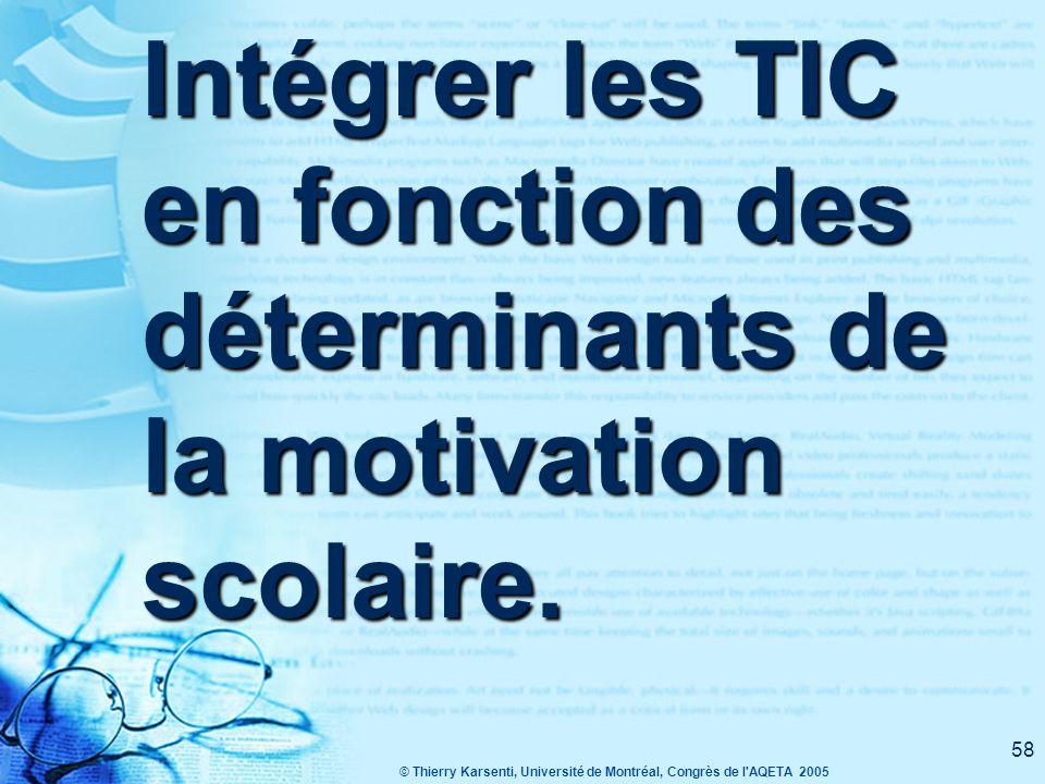© Thierry Karsenti, Université de Montréal, Congrès de l AQETA 2005 58 Intégrer les TIC en fonction des déterminants de la motivation scolaire.