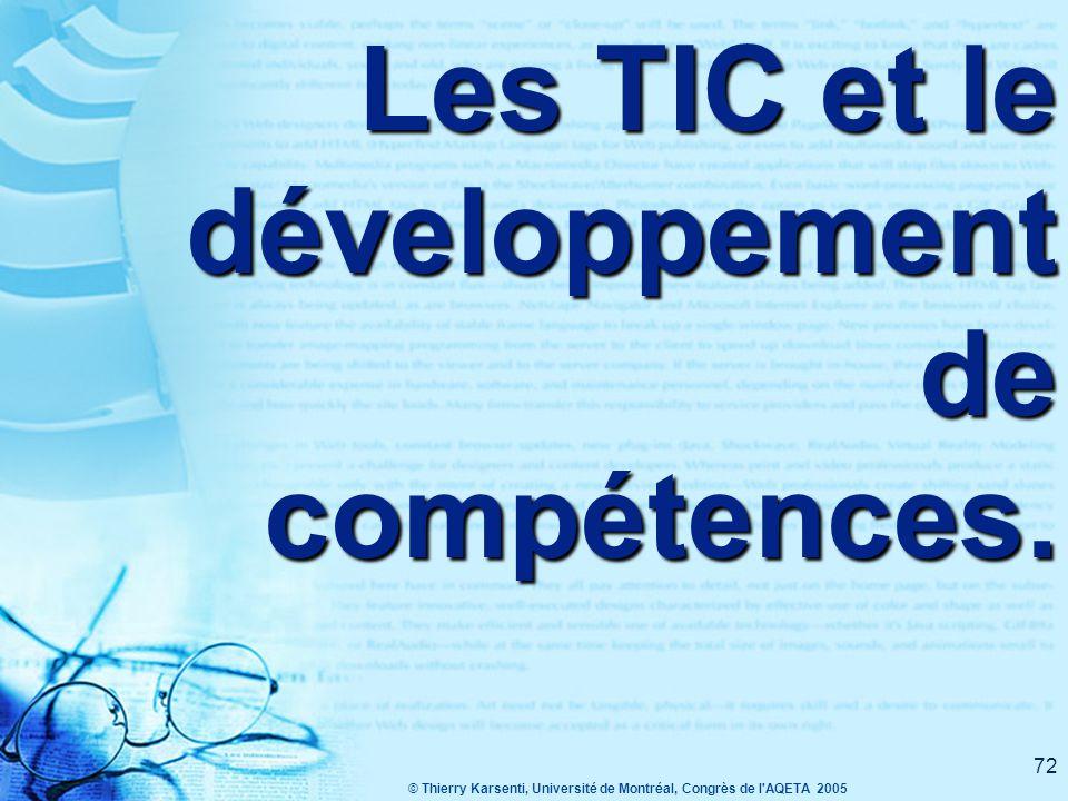 © Thierry Karsenti, Université de Montréal, Congrès de l AQETA 2005 72 Les TIC et le développement de compétences.