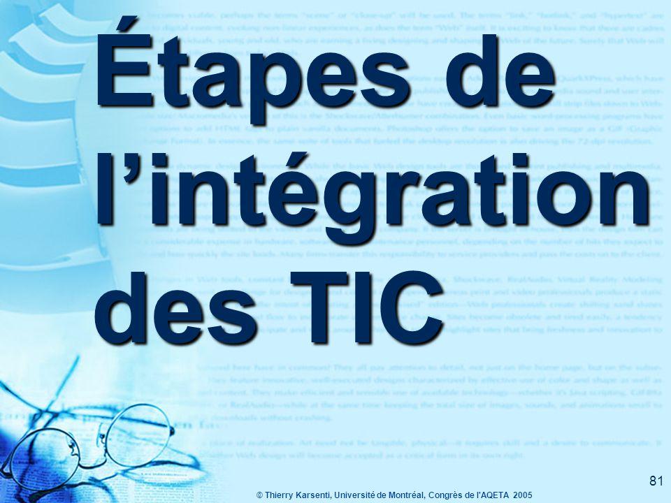 © Thierry Karsenti, Université de Montréal, Congrès de l AQETA 2005 81 Étapes de l'intégration des TIC