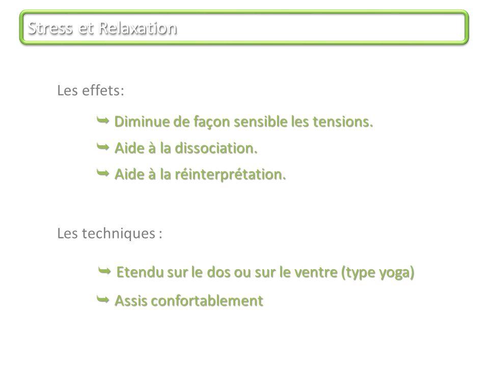 Stress et Relaxation Les effets:  Diminue de façon sensible les tensions.
