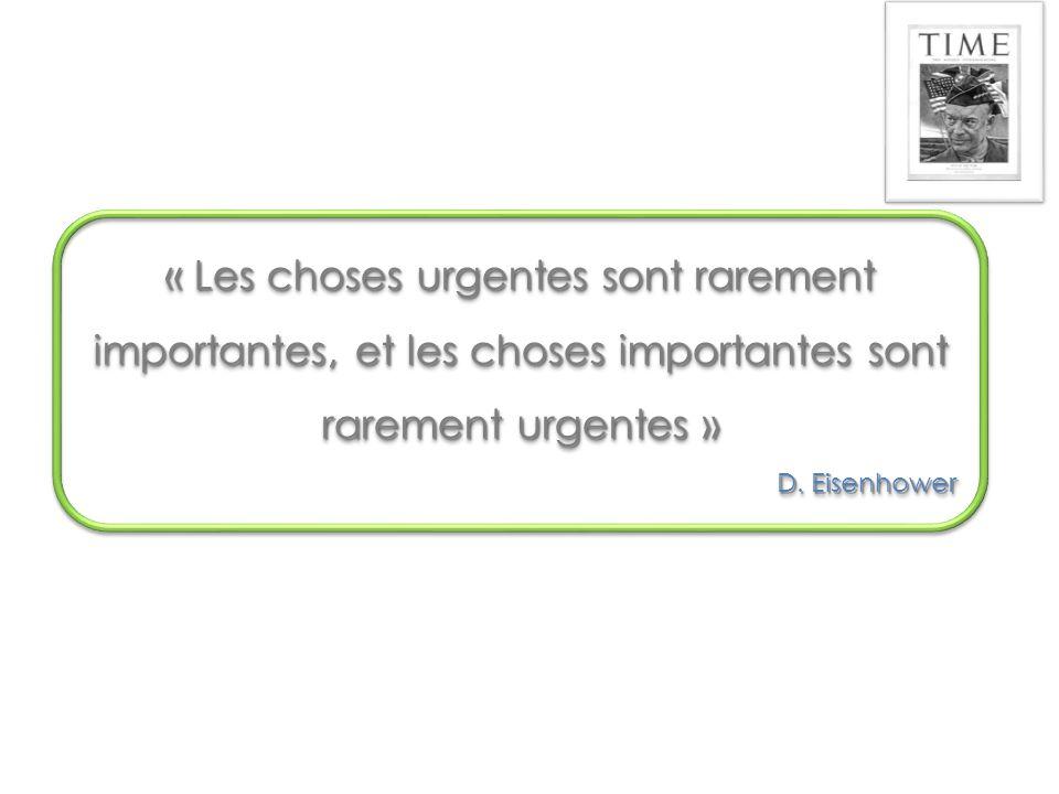 « Les choses urgentes sont rarement importantes, et les choses importantes sont rarement urgentes » D.