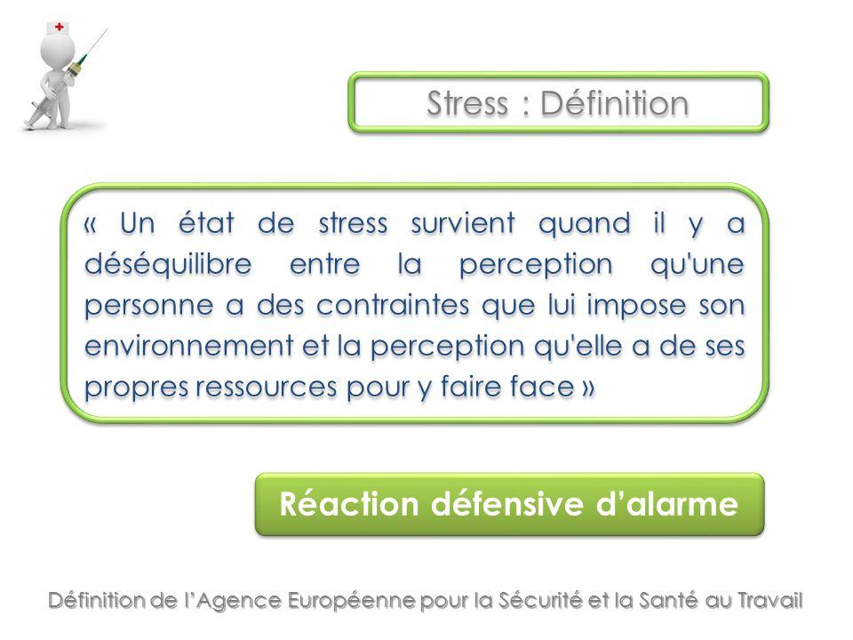Stress : Définition Réaction défensive d'alarme « Un état de stress survient quand il y a déséquilibre entre la perception qu une personne a des contraintes que lui impose son environnement et la perception qu elle a de ses propres ressources pour y faire face » Définition de l'Agence Européenne pour la Sécurité et la Santé au Travail