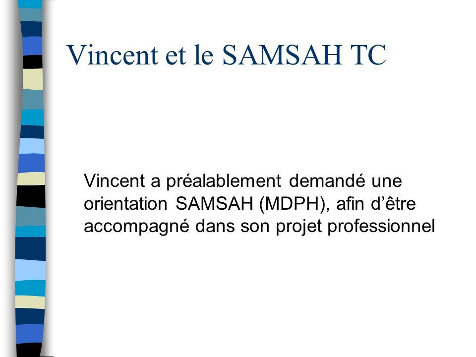 Vincent et le SAMSAH TC Vincent a préalablement demandé une orientation SAMSAH (MDPH), afin d'être accompagné dans son projet professionnel