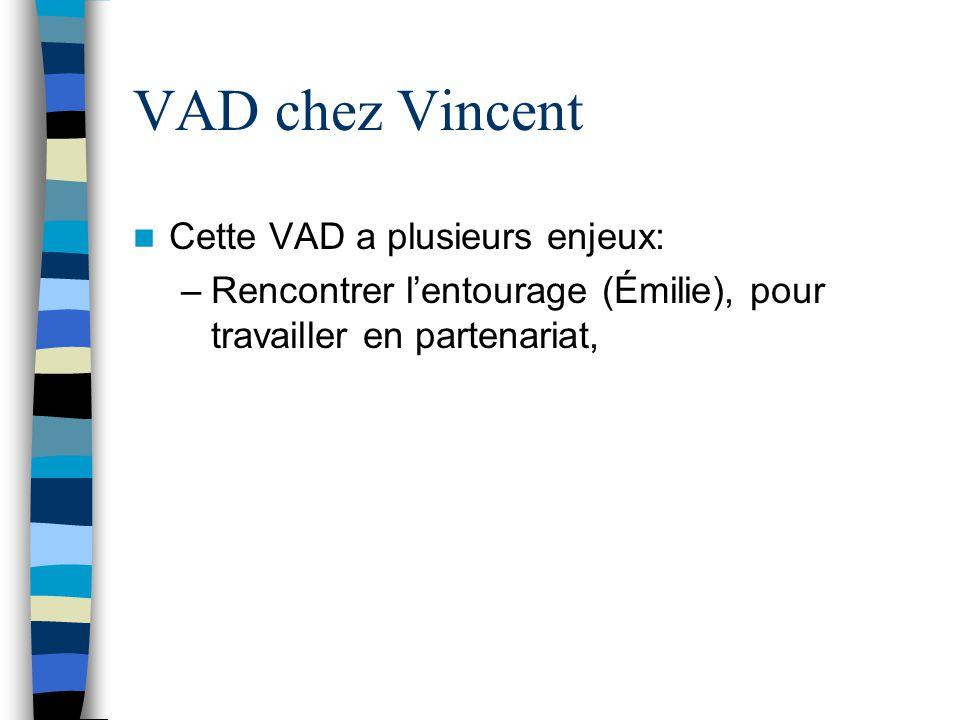 VAD chez Vincent Cette VAD a plusieurs enjeux: –Rencontrer l'entourage (Émilie), pour travailler en partenariat,