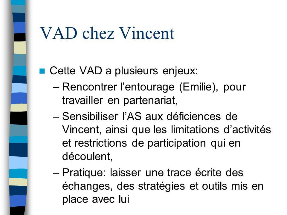 VAD chez Vincent Cette VAD a plusieurs enjeux: –Rencontrer l'entourage (Emilie), pour travailler en partenariat, –Sensibiliser l'AS aux déficiences de