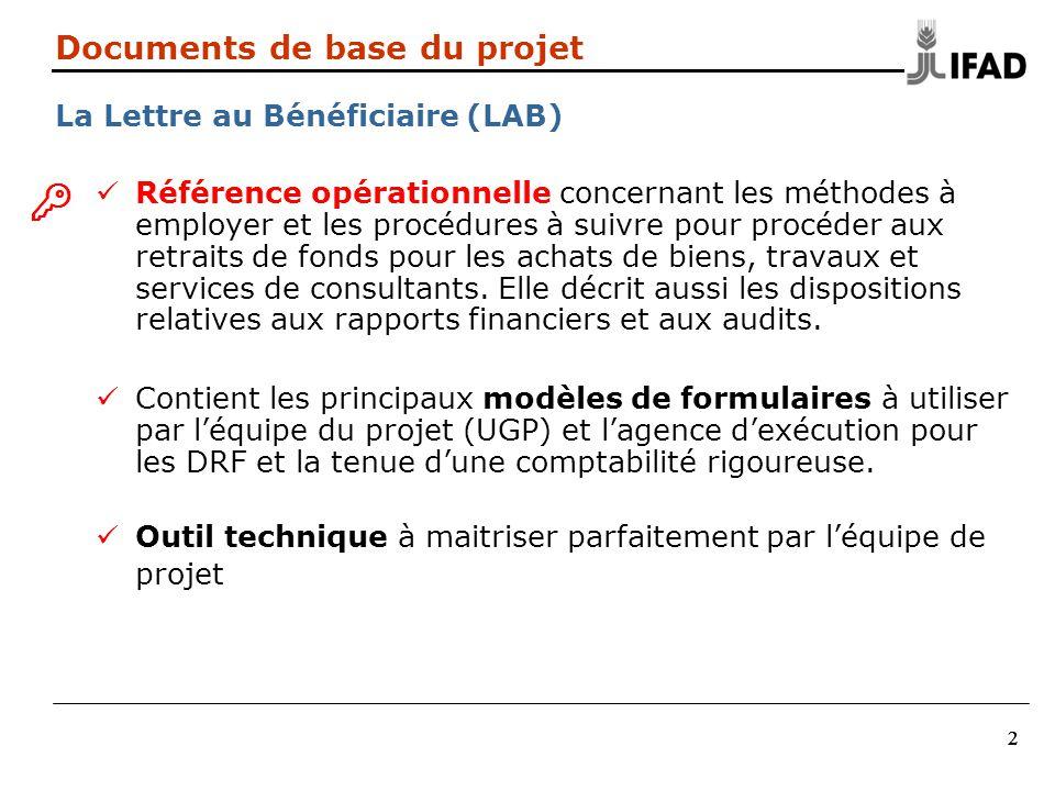 222 Documents de base du projet La Lettre au Bénéficiaire (LAB) Référence opérationnelle concernant les méthodes à employer et les procédures à suivre