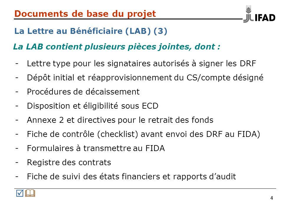444 Documents de base du projet La Lettre au Bénéficiaire (LAB) (3) -Lettre type pour les signataires autorisés à signer les DRF -Dépôt initial et réa