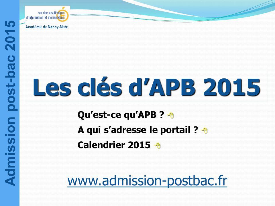 Admission post-bac 2015 Académie de Nancy-Metz  Qu'est-ce qu'APB ?  A qui s'adresse le portail ?  Calendrier 2015  www.admission-postbac.fr Les cl