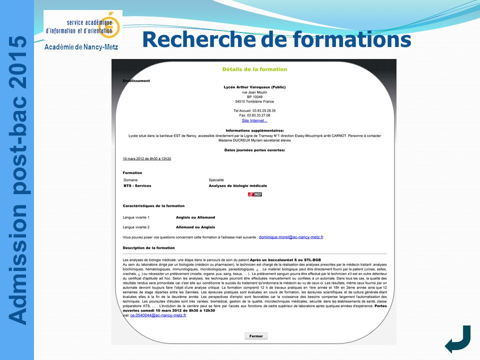 Admission post-bac 2015 Académie de Nancy-Metz Recherche de formations