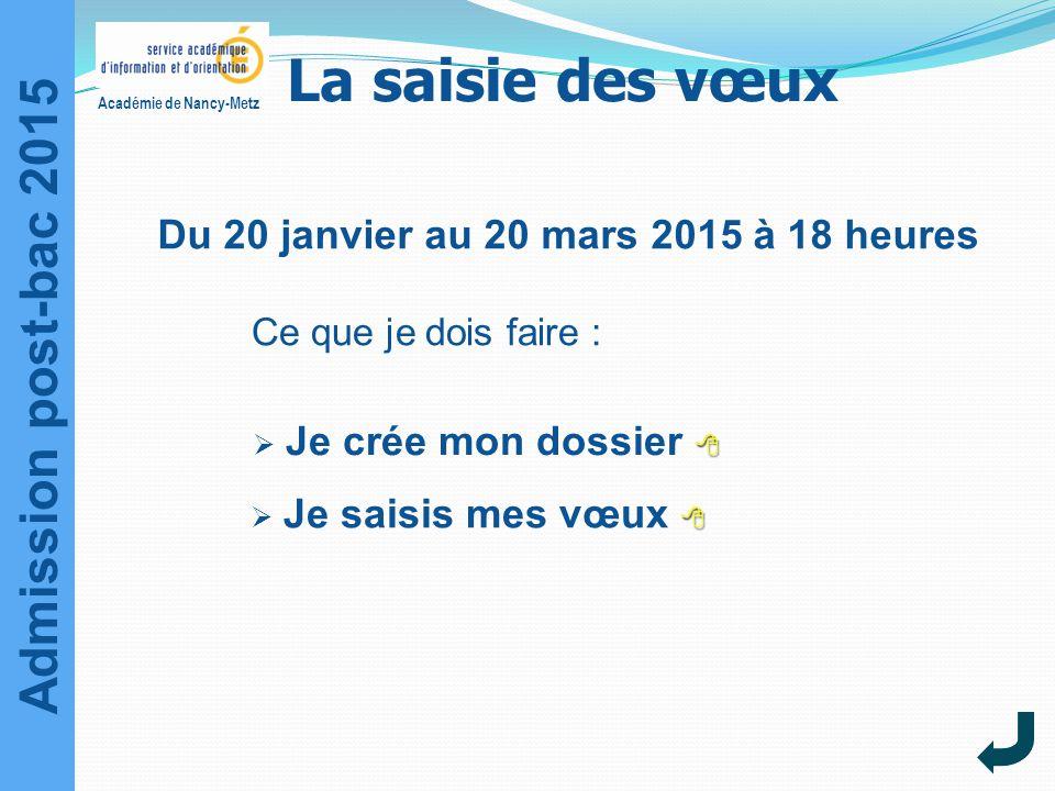 Admission post-bac 2015 Académie de Nancy-Metz La saisie des vœux Ce que je dois faire :    Je crée mon dossier  Je crée mon dossier     Je sa