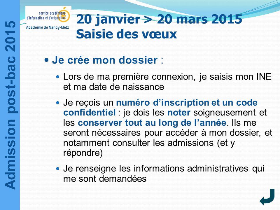 Admission post-bac 2015 Académie de Nancy-Metz 20 janvier > 20 mars 2015 Saisie des vœux Je crée mon dossier : Lors de ma première connexion, je saisi