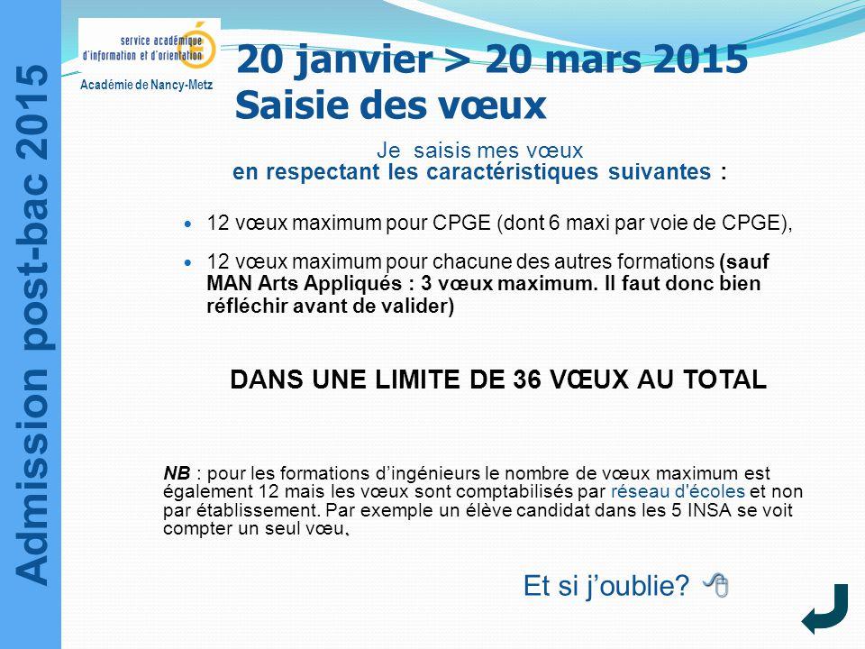 Admission post-bac 2015 Académie de Nancy-Metz Je saisis mes vœux en respectant les caractéristiques suivantes : 12 vœux maximum pour CPGE (dont 6 max