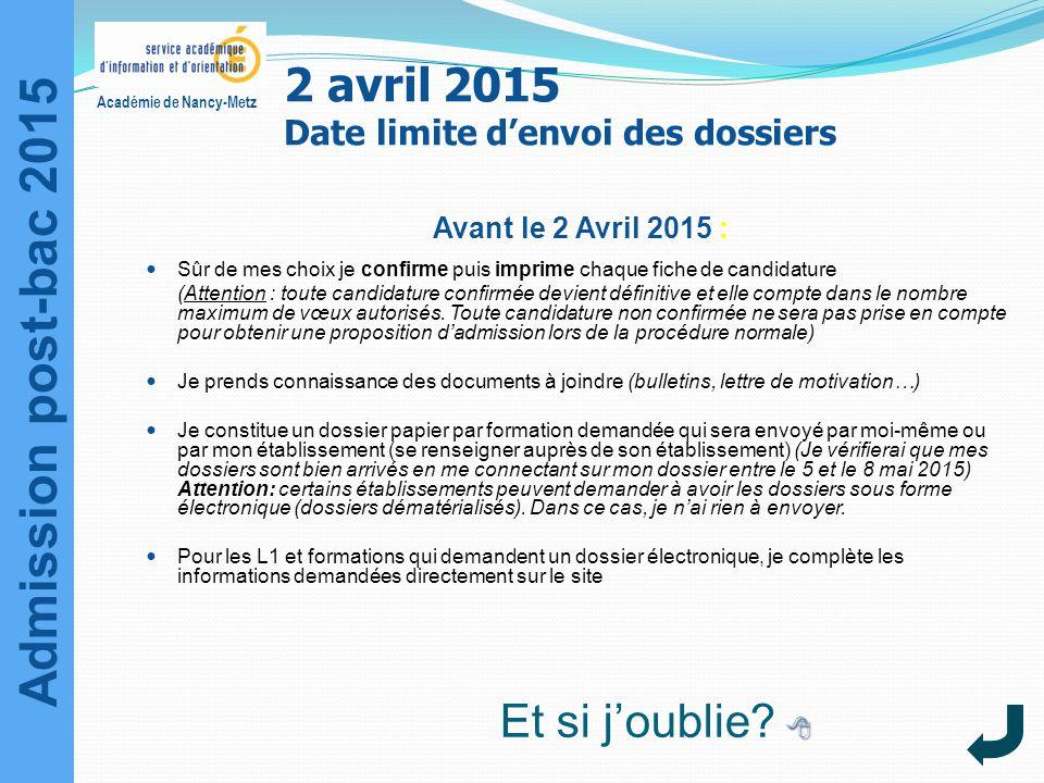 Admission post-bac 2015 Académie de Nancy-Metz Avant le 2 Avril 2015 : Sûr de mes choix je confirme puis imprime chaque fiche de candidature (Attentio