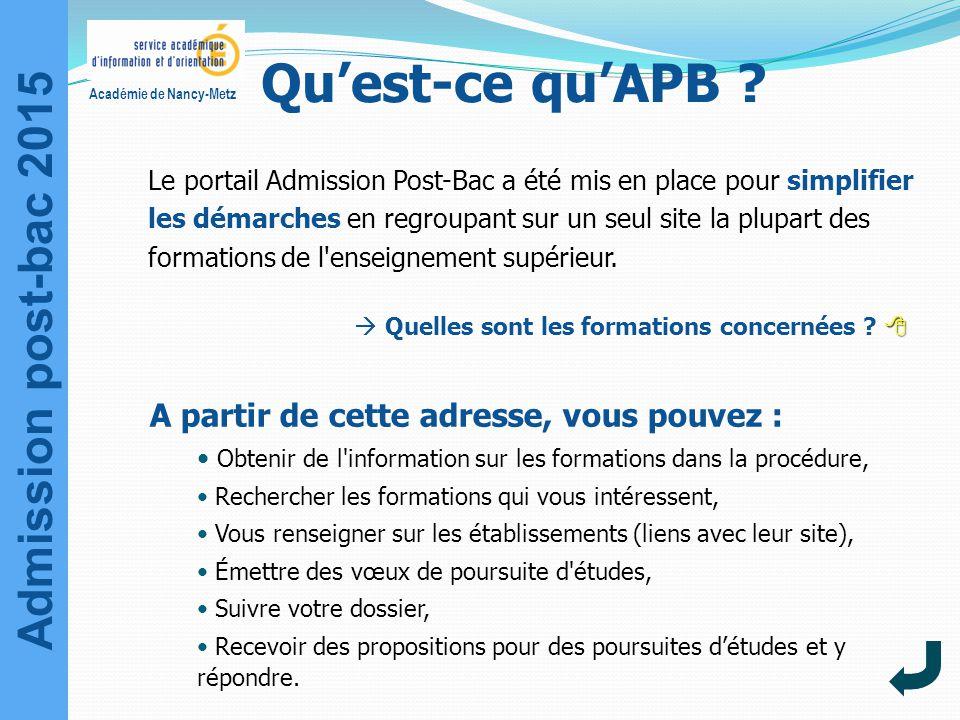Admission post-bac 2015 Académie de Nancy-Metz Qu'est-ce qu'APB ? Le portail Admission Post-Bac a été mis en place pour simplifier les démarches en re