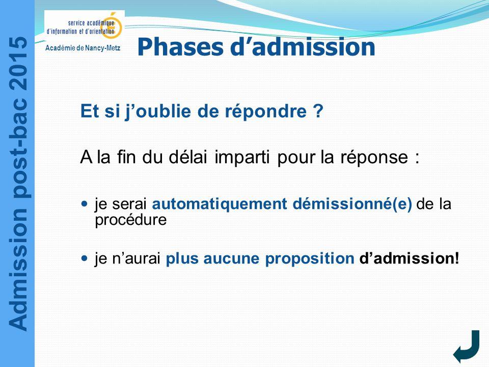Admission post-bac 2015 Académie de Nancy-Metz Et si j'oublie de répondre ? A la fin du délai imparti pour la réponse : je serai automatiquement démis