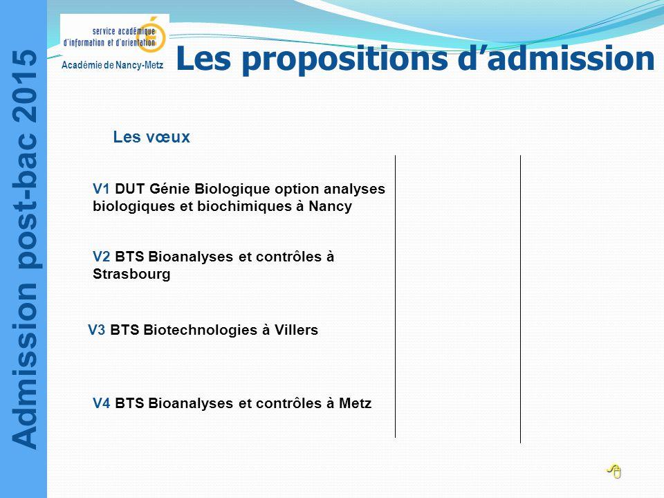 Admission post-bac 2015 Académie de Nancy-Metz Les vœux V3 BTS Biotechnologies à Villers V1 DUT Génie Biologique option analyses biologiques et biochi