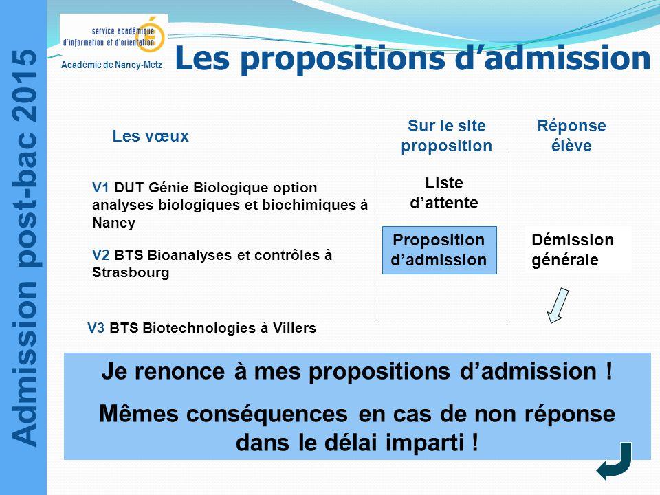 Admission post-bac 2015 Académie de Nancy-Metz V3 BTS Biotechnologies à Villers V1 DUT Génie Biologique option analyses biologiques et biochimiques à