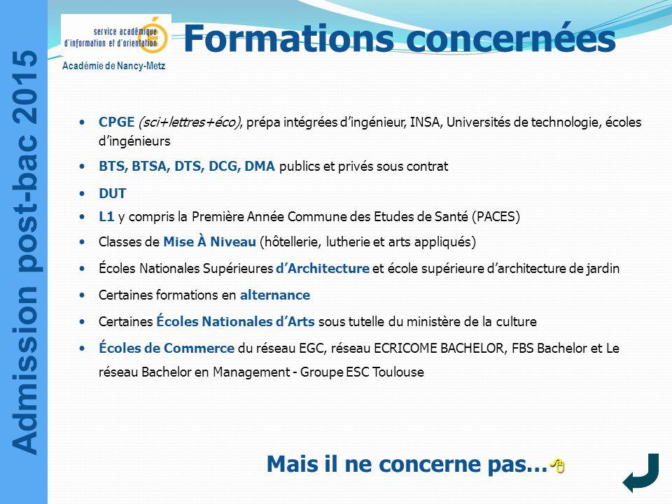 Admission post-bac 2015 Académie de Nancy-Metz Formations concernées CPGE (sci+lettres+éco), prépa intégrées d'ingénieur, INSA, Universités de technol
