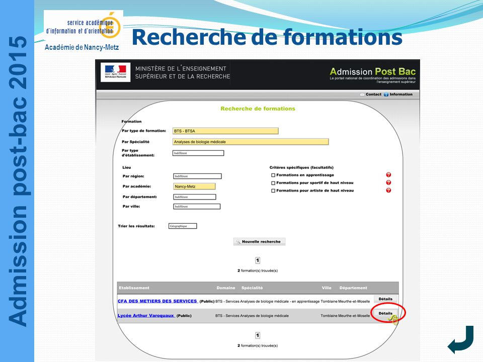 Admission post-bac 2015 Académie de Nancy-Metz Recherche de formations 