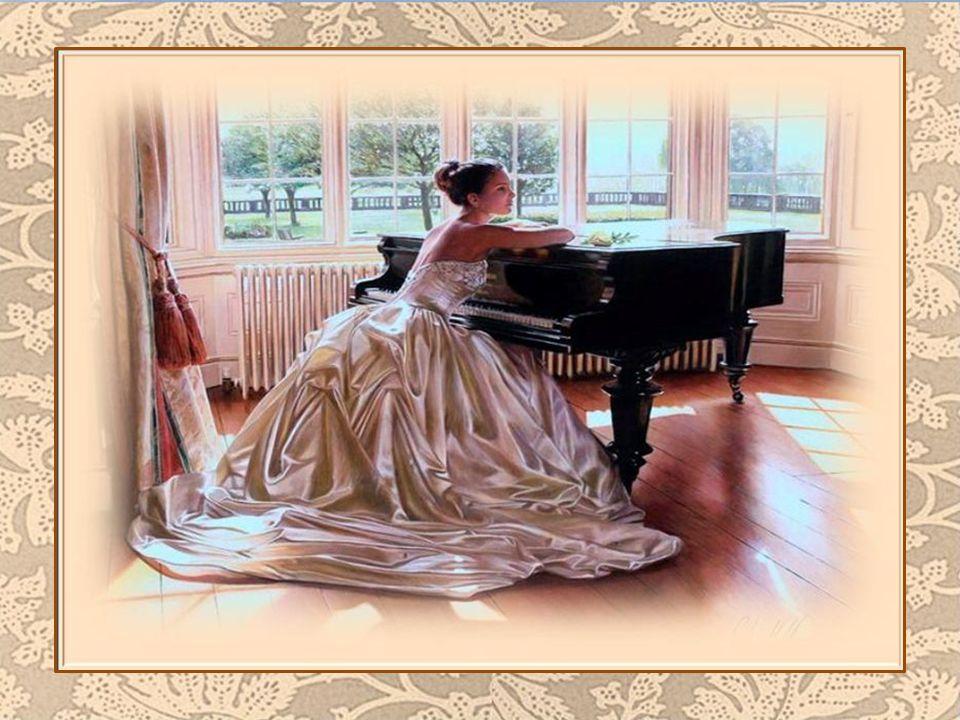 Ses longs doigts élancés de pianiste Tissent la dentelle d'un monde fantastique; Le soleil pénètre déjà au levé du jour Et elle fredonne une chanson d'amour…