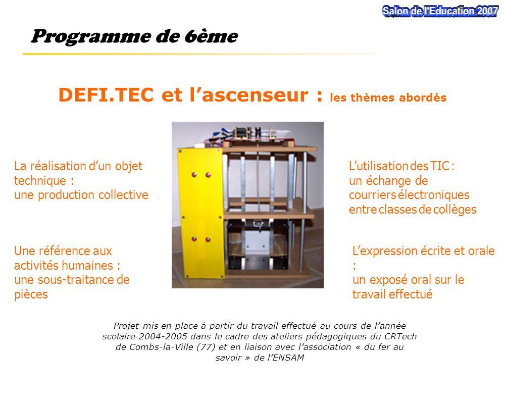 Projet mis en place à partir du travail effectué au cours de l'année scolaire 2004-2005 dans le cadre des ateliers pédagogiques du CRTech de Combs-la-