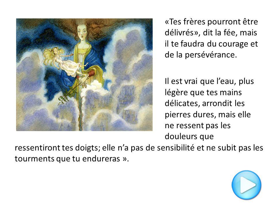 «Tes frères pourront être délivrés», dit la fée, mais il te faudra du courage et de la persévérance. Il est vrai que l'eau, plus légère que tes mains