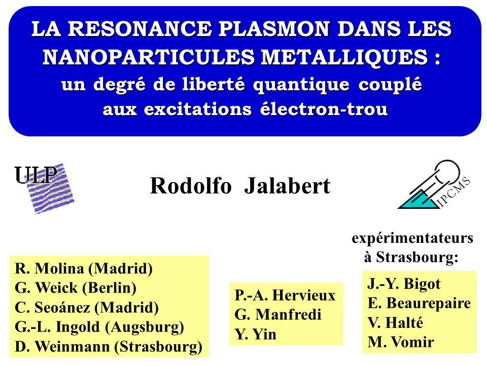 Rodolfo Jalabert LA RESONANCE PLASMON DANS LES NANOPARTICULES METALLIQUES : un degré de liberté quantique couplé aux excitations électron-trou R. Moli