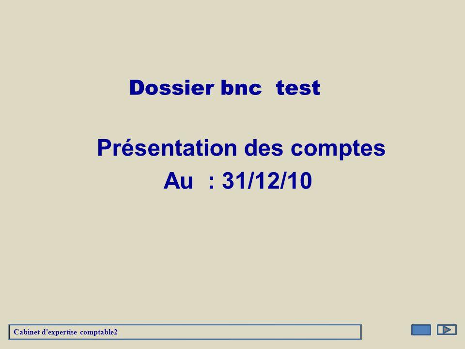 Dossier bnc test Au : 31/12/10 Présentation des comptes Cabinet d'expertise comptable2