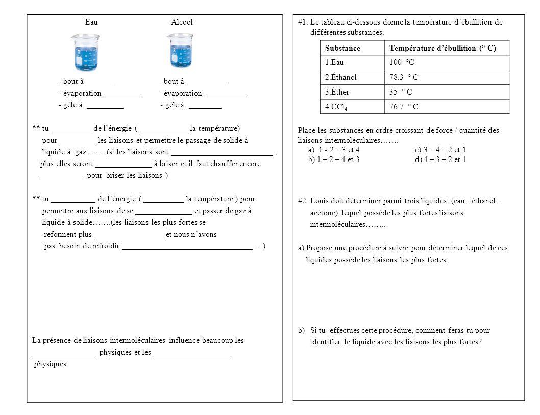 #1. Le tableau ci-dessous donne la température d'ébullition de différentes substances.