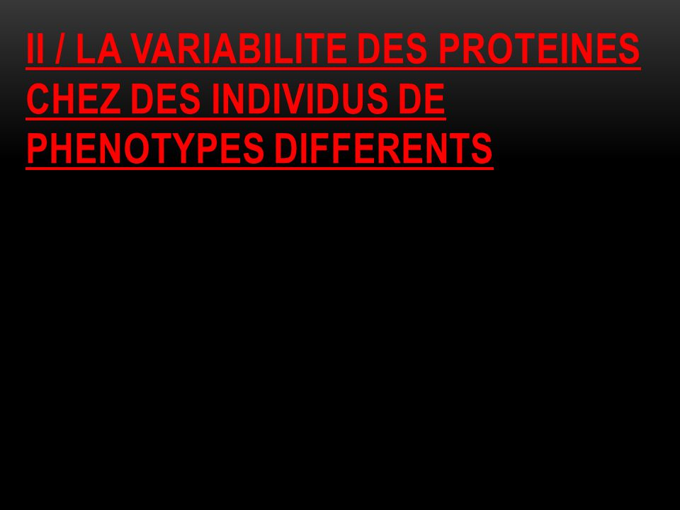 II / LA VARIABILITE DES PROTEINES CHEZ DES INDIVIDUS DE PHENOTYPES DIFFERENTS