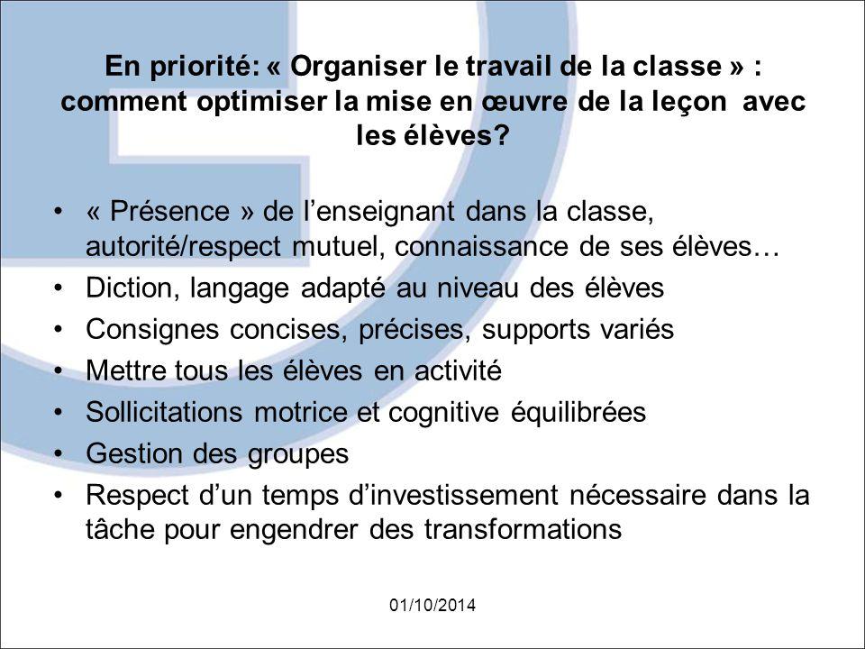 En priorité: « Organiser le travail de la classe » : comment optimiser la mise en œuvre de la leçon avec les élèves? « Présence » de l'enseignant dans