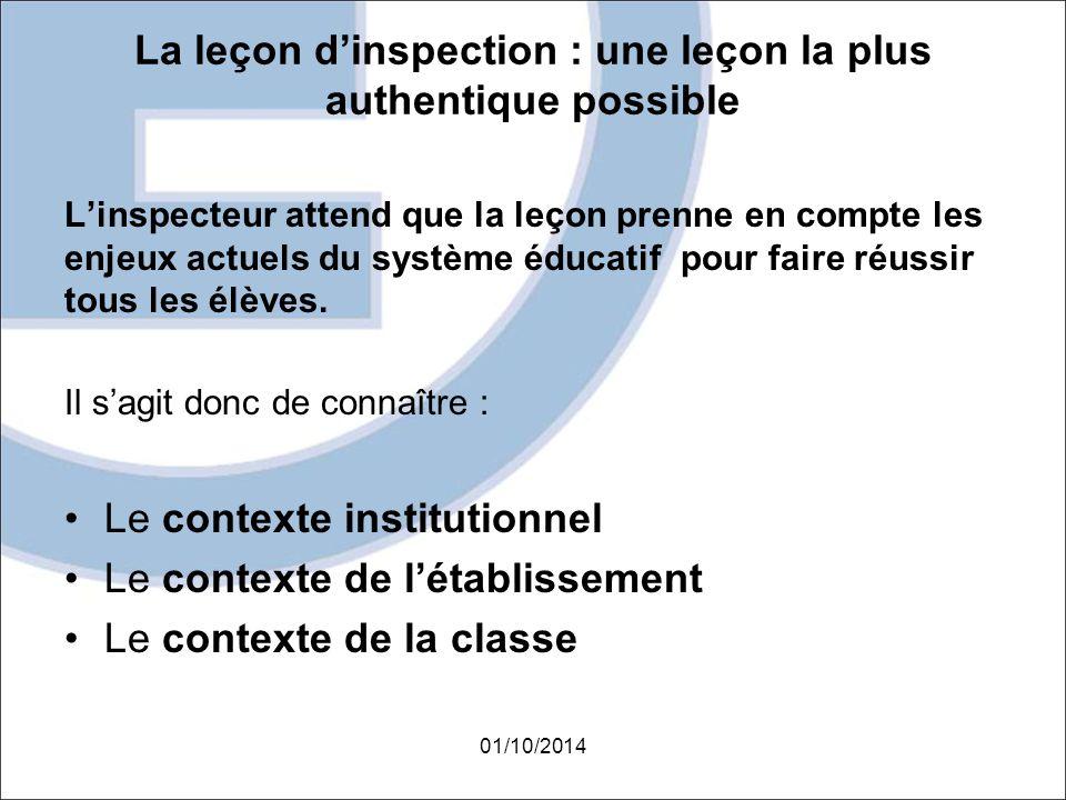 La leçon d'inspection : une leçon la plus authentique possible L'inspecteur attend que la leçon prenne en compte les enjeux actuels du système éducati